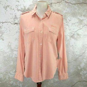 Frame Faded Light Pink Button Front Shirt M NWT